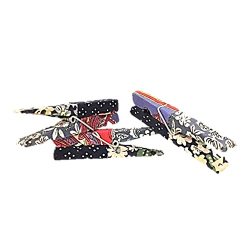 AllAsta Clothes Pin Fabric Remnant Covered Decorative Set of 12