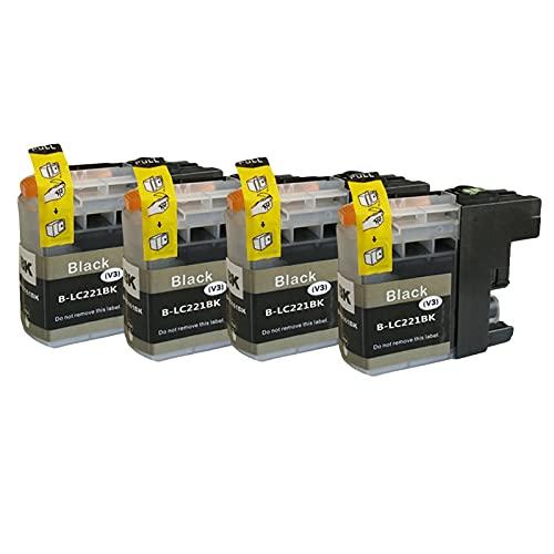 SXCD Cartuchos De Tinta LC221 para Su Hermano, Reemplazo De Alto Rendimiento para DCP J562DW MFC J480DW J680DW J880DW Impresora De Inyección De Tinta Cartucho Compatible Black x 4