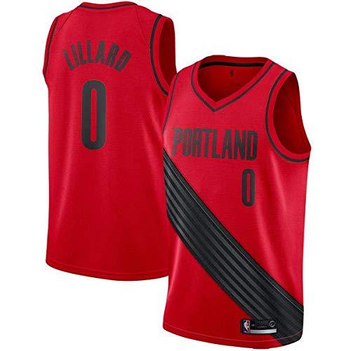 canottejerseyNBA Damian Lillard - Portland Trail Blazers #0 Basket Jersey Maglia Canotta, Swingman Ricamata, Abbigliamento Sportivo (M, Rosso)