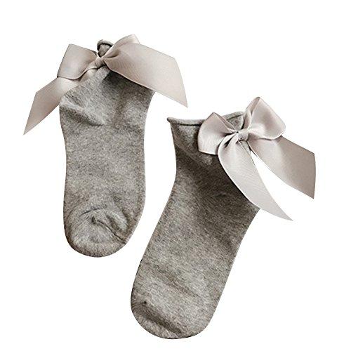 Bodhi2000 - Calzini da donna alla caviglia, traspiranti, con fiocco Grigio chiaro + grigio. Taglia unica