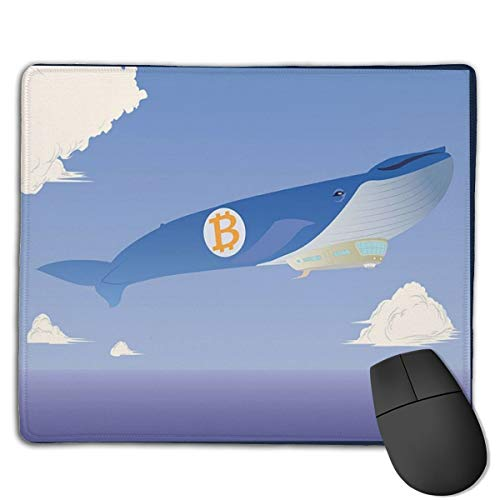 Bitcoin Air Whale Customized Designs Non-Slip Rubber Base Gaming Mouse Pads for Mac,22cm×18cm, Pc, Computers. Ideal for Working Or Game