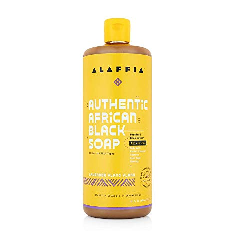 Alaffia Authentic African Black Soap All-in-One, Lavender Ylang Ylang, 32 Oz. Body Wash, Facial Cleanser, Shampoo, Shaving, Hand Soap. Perfect for All Skin Types. Fair Trade, No Parabens, Cruelty Free, Vegan