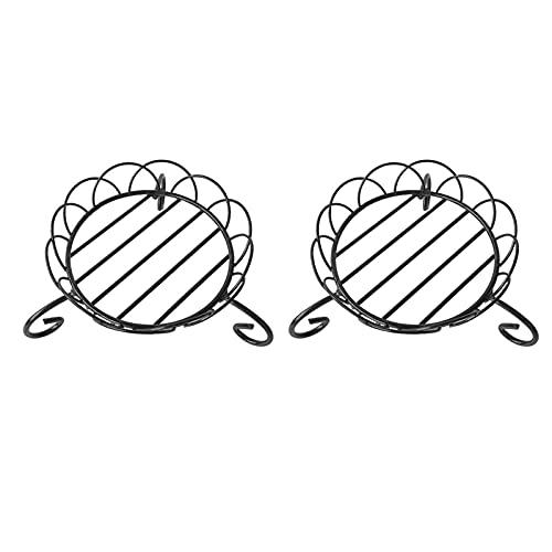 YUXI8541NO Soporte de exhibición Base de jarrón redonda de hierro forjado con base de maceta móvil para macetas con adornos en maceta, base decorativa negra (color B: B)