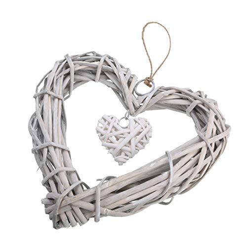 Z-Y wreath wreaths Gray White Wicker Heart Wreath DIY Chic Hanging Artificial Wreath For Home Door Window Wedding Decoration