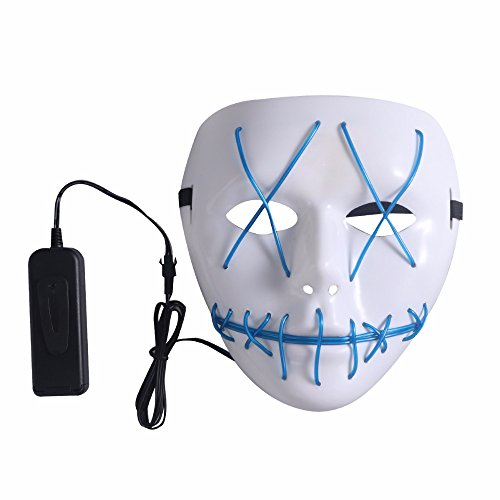 SUNREEK Halloween Scary Mask, Halloween Cosplay Led Costume Mask EL Wire Light Up Máscara para Halloween, Festival Parties (Azul)