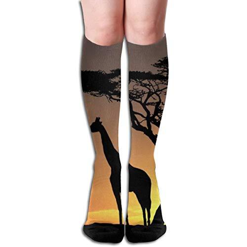Customize Design Giraffe 19,7 Zoll Kompressionsstrümpfe Hohe Stiefel Strümpfe Langer Schlauch Für Yoga Walking Für Frauen Mann