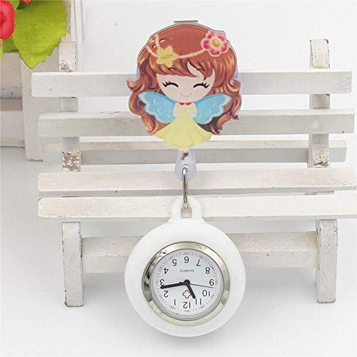 dihui Reloj de Bolsillo Enfermera,Estiramiento Enfermera Lindo Reloj de Bolsillo, Reloj de Pecho retráctil-Flower Fairy,Reloj de enfermería