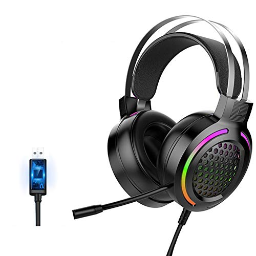 Seihoae RGB Cool Light Gaming Headphones,7.1 Listening To The Sound Overear Wired Headset with Mic for Computer PC Gamer Laptop Desktop