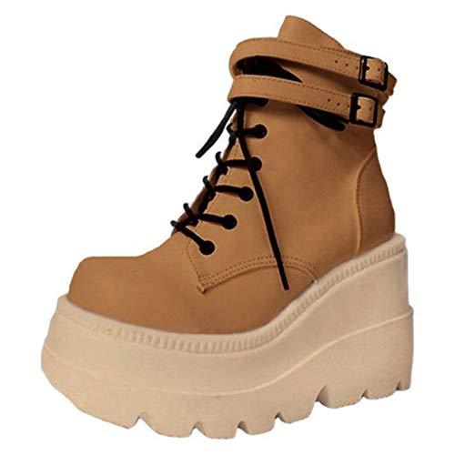 JXILY Señoras de La Plataforma de Alta Botas de Moda Los Tacones Altos Cargadores del Tobillo de Las Mujeres del Partido Acuña Los Zapatos de Tacón Mujer Mujeres Sexy Chunky Heel Boots,Marrón,42