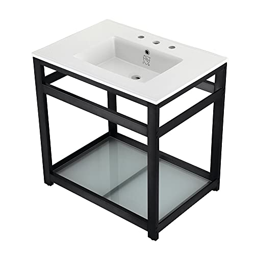 Kingston Brass VWP3122W8B0 31 Ceramic Console Sink (8-Inch, 3-Hole), White/Matte Black