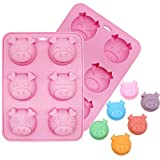 2Pcs 6 Cavity Pig Cake Mold, Piggy Baking Pan Silicone Chocolate Candy Gummy Fat Bomb Jello Shot Mold Mini Soap Crayon Beeswax Melt Mold Ice Cube Trays