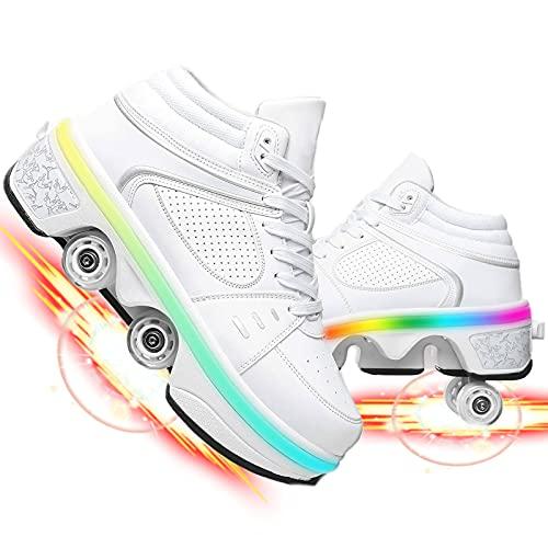 Zapatillas con Ruedas, Unisex Niños Led Luz Parpadea Deportes Al Aire Libre Luminosas Skateboard Sneaker Retráctiles Zapatos De Roller para Patinar
