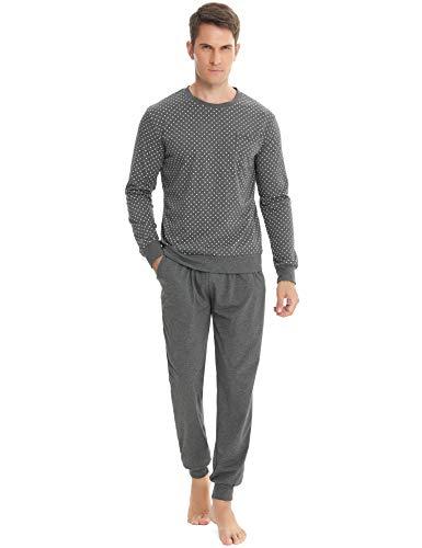 ARBLOVE Klassiker Herren Pyjama Winter Lang Baumwolle Zweiteiliger Schlafanzug Herren Warm Zweiteiliger Baumwolle Nachtwäsche Langarm Rundhals Hausanzug