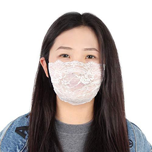 Spitze Gaze Sonnenschutz Anti-Staub Kälteschtz Mit uv Schutz Waschbare für Frauen und Männer KZ0427A Weiß
