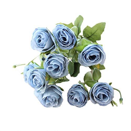 GanYu - 5 tenedores artificiales para jardín, diseño de flores artificiales, para decoración de jardines, restaurantes, oficinas, camelias, azul, 30*3cm