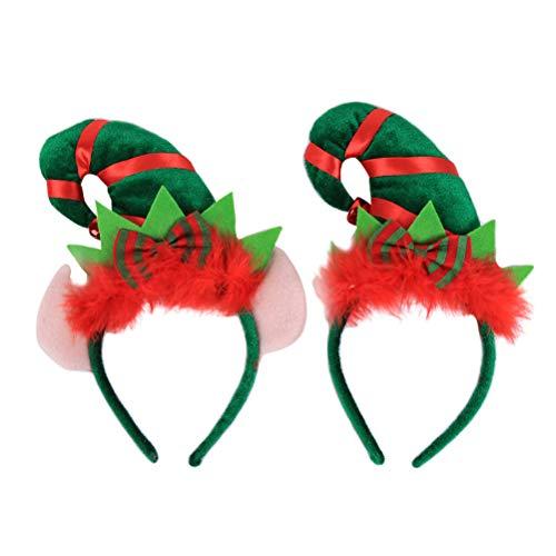 BESTOYARD Weihnachtself Hut Stirnband Weihnachten Kopfschmuck mit Jingle Bell 2PCS