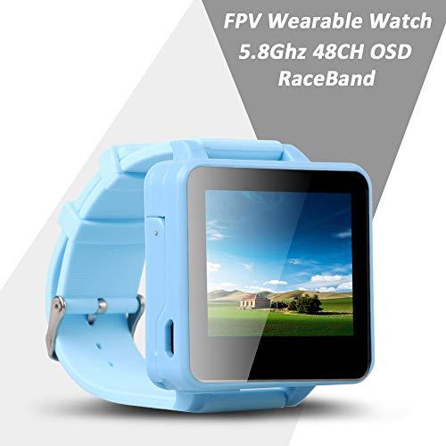 Flysight 5,8-GHz-FPV-Uhr Racing Band 40-Kanal-Empfänger mit tragbarem DVR-Mini-Bildschirm Monitoruhr mit Raceband HD 2-Zoll-Real-IME-Videoanzeige für RC-Drohnen, kompatibel mit Bos200RC Gteng Watch