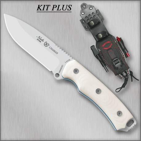 MIGUEL NIETO Nieto - 140-WKB Plus. Cuchillo Chaman BÖHLER Kit Plus MICARTA Blanca. Herramienta para Caza, Pesca, Camping, Outdoor, Supervivencia y Bushcraft