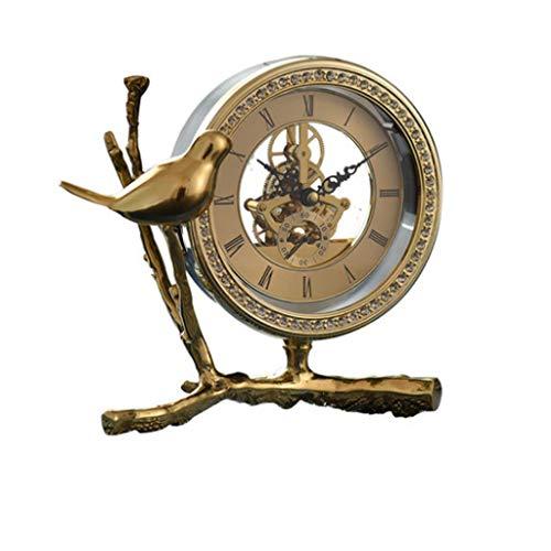 kerryshop Reloj Despertador Americano Moderno Luz Lujo Cobre Puro Clase Alta Reloj Gear Pequeño pájaro Reloj Decorativo Estudio Sala de Estar Decoración Reloj de Escritorio