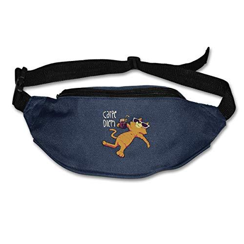 BOUIA Multifunktionale Gürteltasche Bauchtasche Hüfttasche Sport Laufen Laufgürtel Carpe Diem Cat Style