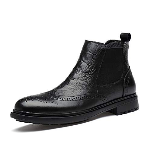 L-YIN Bottes de Chelsea pour Hommes Ronds ongle brague Fauve Wingtip Patchwork Crocodile Pull gobelet taraud élastique Bande véritable Cuir Caoutchouc Chaussures Noirs (Color : Black, Size : 43 EU)