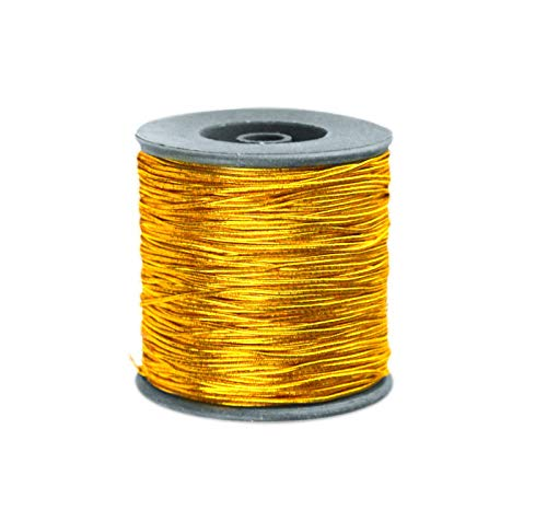 YUPHOO Hang Tag String Rope Gift Tags String Elastic Thread Cord for Gift Box 328 Feet, 2 roll Packed (Gold)