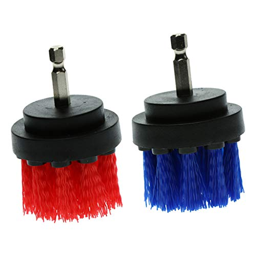 Flameer 2-Pack Bathtub Grout Cleaning Drill Attachment Brush Tool Red Blue 2 Inch