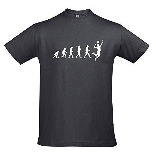 T-Shirt - Evolution - Volleyball Sport Fun Kult Shirt S-XXL, Mouse Grey - weiß, S