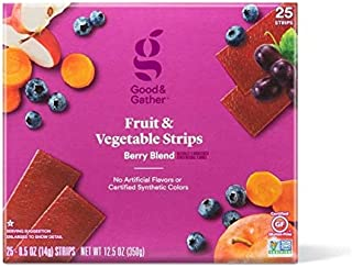 Fruit and Vegetable Strips Berry Blend Leathers Healthy Snack Made with Real Fruit Puree Concentrate Good and Gather 25 Strips (Fruit and Vegetable Berry Blend)