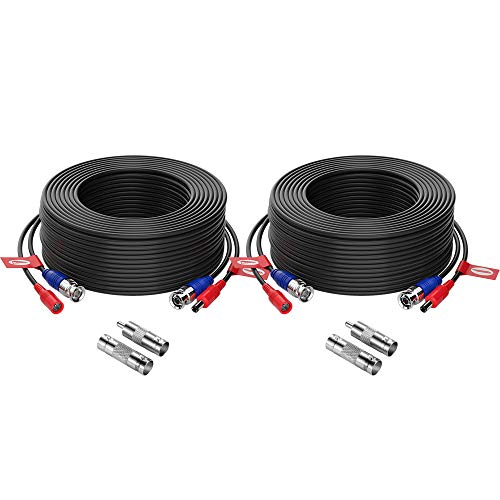 ZOSI 2 Pack 100ft (30 Meters) 2-in-1 Video Power Cable, BNC Extension Surveillance Camera Cables for Video Security Systems (Included 2X BNC Connectors and 2X RCA Adapters)