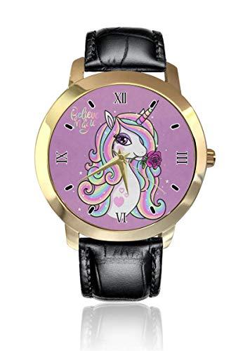 Believe in Magic Unicorn Personalizado Moda Clásico Reloj de Pulsera de Cuarzo Analógico Reloj de Pulsera de Cuero Cinturón para Hombres Mujeres