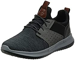 small Skechers Classic Fit Delson Kamben Men's Sneakers Black / Gray 10US