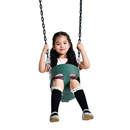 ROCK1ON Columpio Infantil Columpio de Jardín para Niños con Asiento de Respaldo Alto de Seguridad con Recubierta Cadena de Metal 1.5M para Exterior para Bebé
