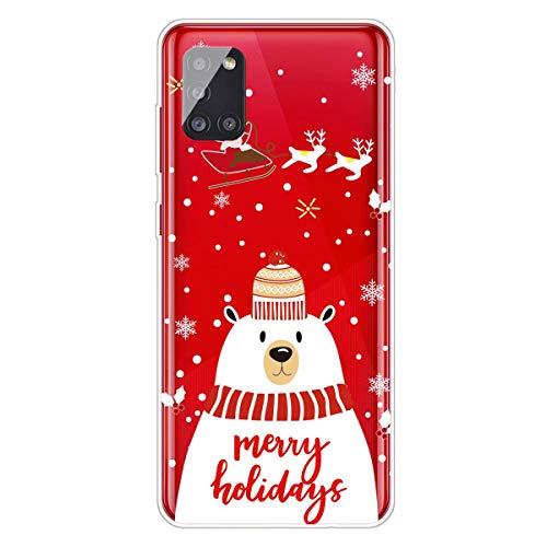 MUTOUREN - Custodia per Samsung Galaxy A71 4G, serie natalizie, in morbido silicone TPU, ultra sottile, antigraffio, con pellicola protettiva per schermo, pupazzo di neve
