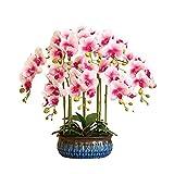 HYAN Flores Artificiales con jarrón, orquídeas Falsas de Seda Flores...