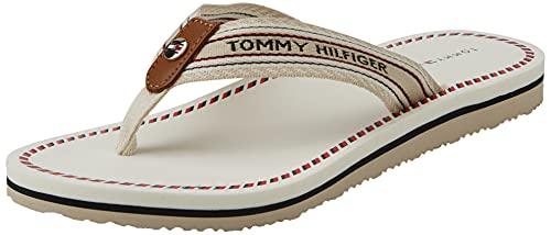 Tommy Hilfiger TH Artisanal Flat Beach Sandal, Sandalias Mujer, Blanco 8A5, 40 EU