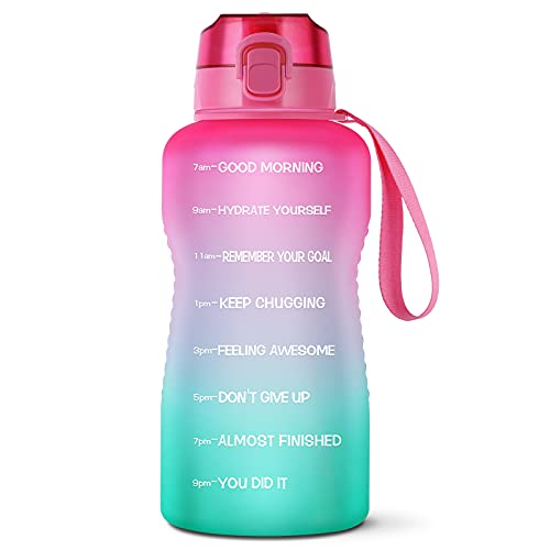 LUCKEA 1 Gallon Water Bottle with Straw, 128OZ Motivational Water Bottle Tritan BPA Free, Large Capacity Premium Flip-top Lid and Leakproof Sport Big Jug for Fitness Camping Home Outdoor Activity