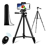 【New Version】 Phone Tripod, Premium Aluminum Alloy Camera Tripod with Cell Phone Mount & Remote Shutter, Professional 50' Extendable Portable Tripod Stand, Compatible with iOS/Android