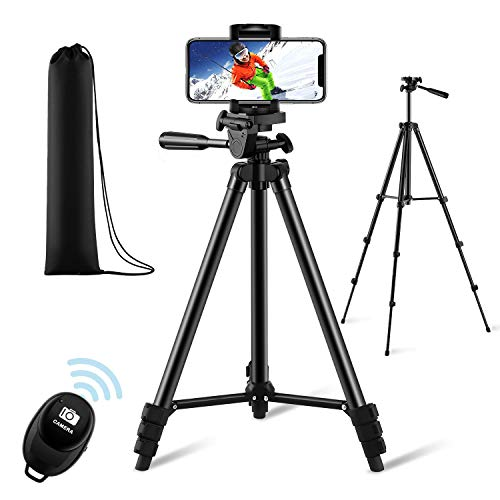 "【New Version】 Phone Tripod, Premium Aluminum Alloy Camera Tripod with Cell Phone Mount & Wireless Bluetooth Remote, Professional 50"" Extendable Portable Tripod Stand, Compatible with iOS/Android"