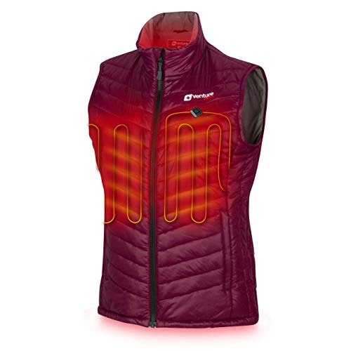 Venture Heat Women's Heated Vest with Battery Pack - Insulated Electric Jacket, Puffer Vest, Roam 2.0 (L, Plum)