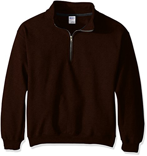Gildan Men's Fleece Quarter-Zip Cadet Collar Sweatshirt, Russet, Medium