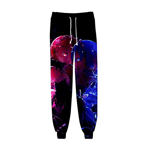 Hombres Casuales Pantalones De Chándal 3D Impresión Re:Life in a Different World from Zero Rem Abrazo Ram Gráfico Pantalón Deportivos Sudor Hip Hop Fitness Pants,XS
