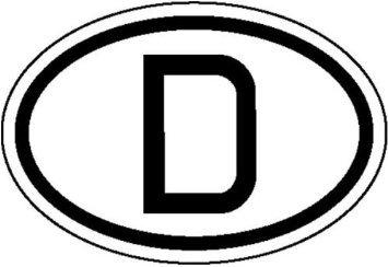 INDIGOS UG - Hinweisschild für Kraftfahrzeuge Internationales Kennzeichen für Deutschland, D Weich-PVC-Folie, selbstklebend, bedruckt Größe 19 cm x 12 cm