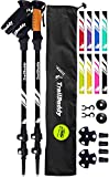 TrailBuddy Lightweight Trekking Poles - 2-pc Pack Adjustable Hiking or Walking Sticks - Strong Aircraft Aluminum - Quick Adjust Flip-Lock - Cork Grip, Padded Strap - (Raven Black)