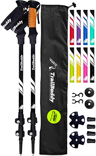 TrailBuddy Walking Poles - Adjustable Trekking Sticks - Flip-Lock Hiking Pole 2...