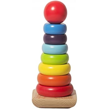 Shumee Wooden Rainbow Stacking Rings Game (1 Year+) - Develop Hand-Eye Coordination & Motor Skills