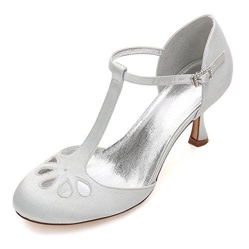 Zapatos De Boda Mujer Punta Cerrada Tira De Tobillo Hebillas Tacon Medio...