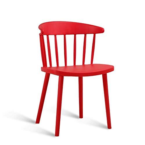 WRISCG Silla de Comedor de plástico/Respaldo cómodo Silla Informal/Silla de café Americana 8 Colores Opcionales (Color: Rojo)