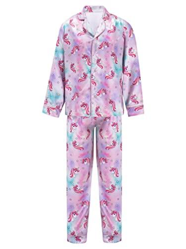 zdhoor Kids Boys Satin 2 Piece Pajamas Nightwear Outfit Long Sleeve Shirt Tops Sleep Pants Loungewear Pink 4 Years