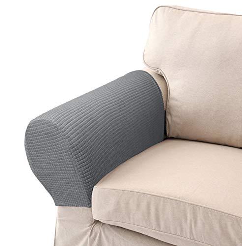 LERTREE 1 Pair Sofa Arm Slipcovers Elastic Sofa Armrest Protectors Removable Chair Sofa Armrest Covers (Light Gray)